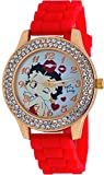 Betty Boop #BB-W073 Women's Blowing Kisses Gold Tone Red Silicone Band Crystal Watch