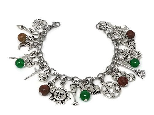 Witches Charm Bracelet, Pagan Ritual Jewelry, Gift for Wicca, Witchcraft
