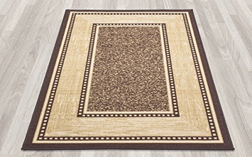 "Ottomanson Ottohome Collection Contemporary Bordered Design Modern Area Rug with Non-Skid (Non-Slip) Rubber Backing, 3'3""W  X 4'7""L, Chocolate"