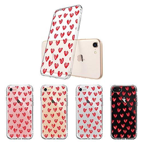 MOSNOVO Funda iPhone 7 iPhone 8, Flexible TPU, Protección Delgada y Claridad, Transparente impresión de estuche Silicona Carcasa Trasera Para iPhone 7 (Evil Eyes) Love