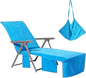 VOCOOL Chaise Lounge Pool Chair Cover Beach Towel Fitted Elastic Pocket Won't Slide (Sky Blue)