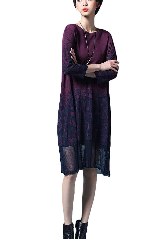 MatchLife Damen Jerseykleider Pullover Gedruckt Kleider