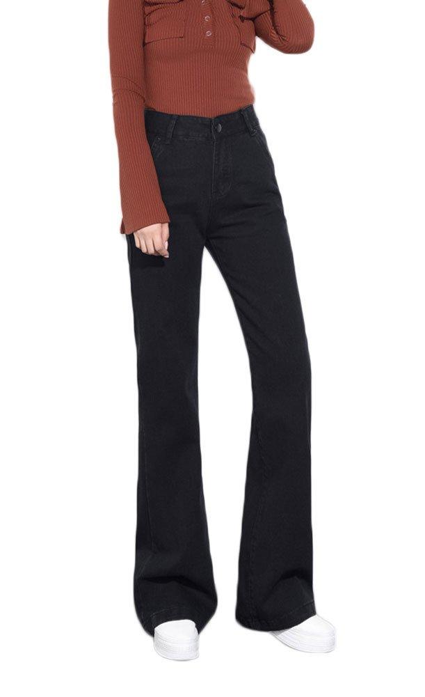 AvaCostume Women's Blue Wide Leg Flare Jeans Black 10P