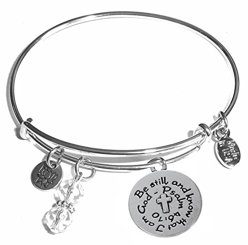 Message Charm (46 words to choose from) Expandable Wire Bangle Bracelet, in the popular style, COMES IN A GIFT BOX! (Be still and know that I am God)