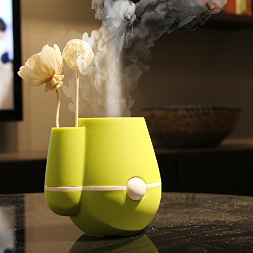 Easydeal 220ML Mini USB Air Mist Humidifier Air Purifier Freshener Aroma Steam Diffuser for Bedrooms, Living Rooms,Car,Home and Office, Flower Vase Shape (Green)