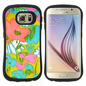 """Hypernova Slim Fit Dual Barniz Protector Caso Case Funda Para Samsung Galaxy S6 [Patrón de Arte Textil madre de la mamá de Verano""""]"""