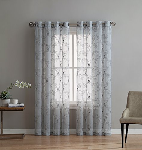 LinenZone Melissa - Premium Quality Textured Semi-Sheer Embroidered Curtain by 100% Polyester Fabric - Linen Look Fashionable Design - Variety of Color Combinations (1 Panel 54