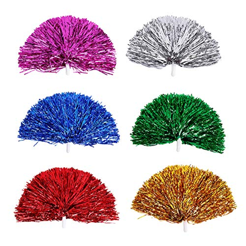 6 Pcs Plastic Cheerleader Pom Poms, Cheerleading Pom Poms, Party Costume Accessory Set Ball Dance Fancy Dress Night Party Sports Pompoms Cheer