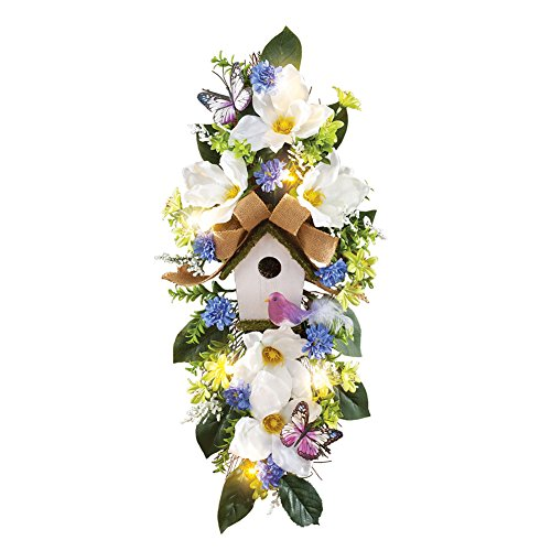 Magnolia Floral Spring Door Swag with Birdhouse & Lights