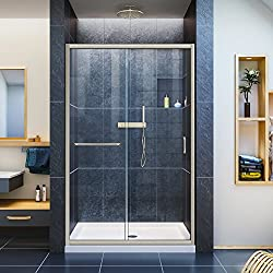 DreamLine Infinity-Z 36 in. D x 48 in. W Kit, with Sliding Shower Door in Brushed Nickel and Center Drain White Acrylic Base