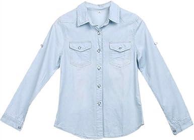Mujer Blusa Denim Casual Azul Mezclilla Manga Larga Camisa ...