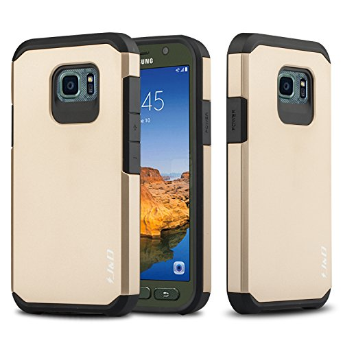 J&D Case Compatible for Galaxy S7 Active Case, Heavy Duty [Dual Layer] Hybrid Shock Proof Protective Rugged Bumper Case for Samsung Galaxy S7 Active Case - [NOT Compatible with Galaxy S7] - Gold