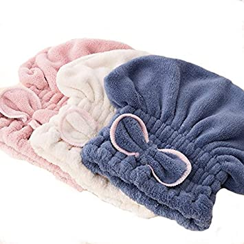 Amazon.com : | Shower Caps | 2pcs super absorbent hair drying cap Microfiber Bath Towel Hair Dry Hat for Womens Girls Ladies Bathroom Products | by SULYMY : ...