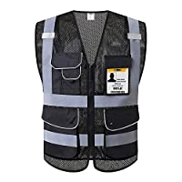 JKSafety 9 Pockets Class 2 High Visibility Zipper Front Safety Vest With Reflective Strips,HQ Breathable Mesh, Oxford Fabric for pocket materials. Black Meets ANSI/ISEA Standards