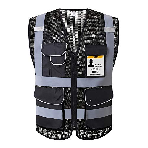 JKSafety 9 Pockets Class 2 High Visibility Safety Vest With Reflective Strips Zipper Front, HQ Breathable Mesh, Oxford Fabric for pocket materials. Black Meets ANSI/ISEA Standards (Medium, Black) ...