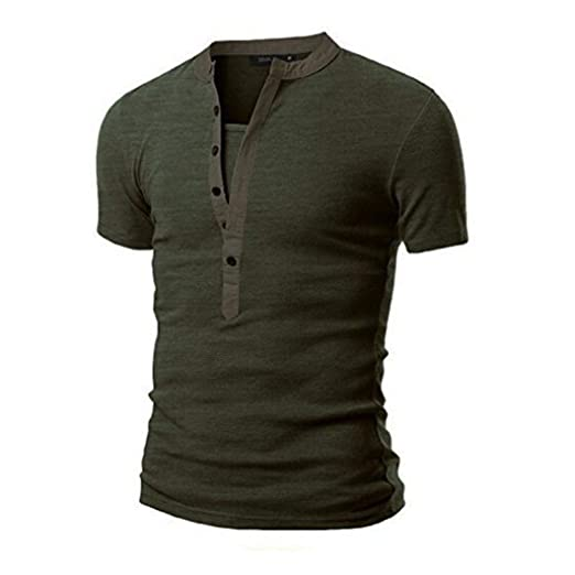 Alalaso Mens Summer Casual Solid Patchwork V-Neck Short Sleeved T-Shirt Top Blouse