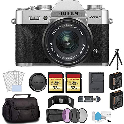 FUJIFILM X-T30 Mirrorless Digital Camera with 15-45mm Lens 16619061 Silver - Bundle with 2X 32GB Memory Cards + Spare Battery + Carrying Case + More (Best Mirrorless Camera For Portraits 2019)