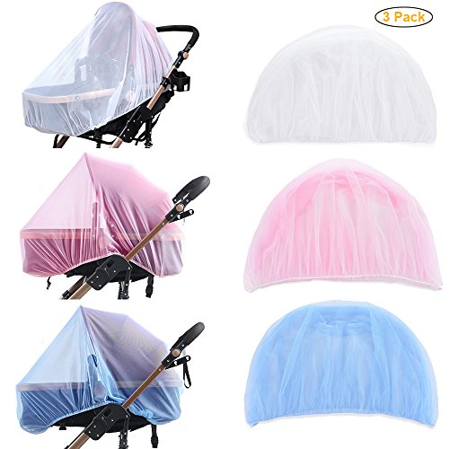 LONGBLE 3Pcs/Set Baby Mosquito Net Universal for Strollers, Joggers, Carriers, Car Seats, Bassinets, Cribs, Cradles, Pack and Palys & Playpens, White&Pink&Blue by LONGBLE