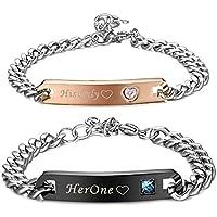 ORAZIO 2Pcs Stainless Steel Couple Bracelet Lover Relationship Bracelets His Beauty Her Beast