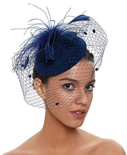 Zivyes Fascinator Hats for Women Pillbox Hat with Veil Headband and a Forked Clip Tea Party Headwear (1-Navy)