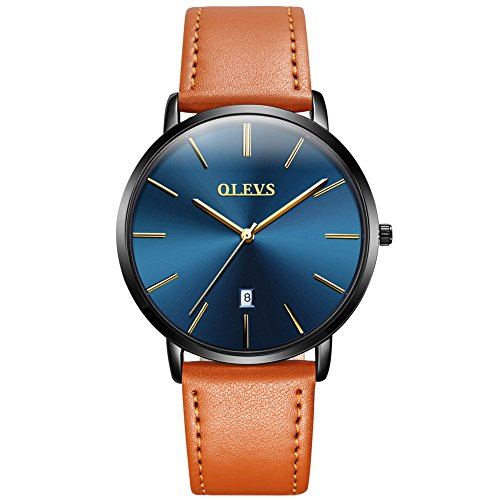 Mens Ultra Thin Minimalist Watches on Sale, Business Gift Casual Wrist Watch with Yellow Tan Brown Leather Strap Blue Dial Watches, Date Water Resistance Watch, 2019 Brand Valentines Gift for His