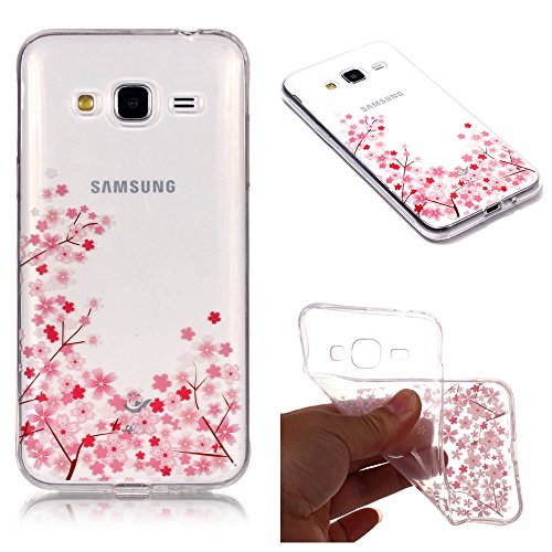 Price comparison product image Stysen Galaxy J7 2015 Crystal Clear Case, Galaxy J7 2015 Transparent Cover, Creative Simple Pretty Cherry Flower Series Small Pink Cherry Flower Cover for Samsung Galaxy J7 2015-Small Cherry Flower