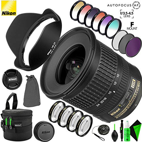 Nikon AF-S DX NIKKOR 10-24mm f/3.5-4.5G ED Lens with Creative Filter Kit and Pro Cleaning Accessories