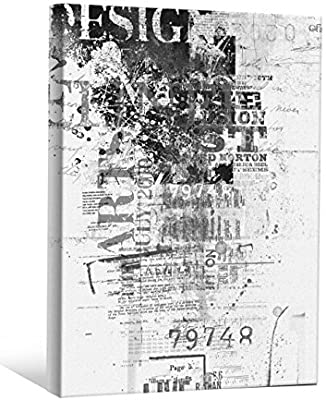 JP London BWMCNV0081 2 Thick Heavyweight Black /& White Gallery Wrap Canvas Grunge Graffiti Design Post Scrap Book Wallpaper 24 x 36