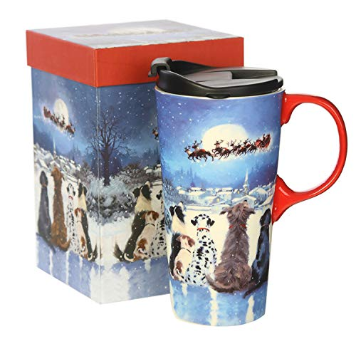 CEDAR HOME Coffee Ceramic Mug Porcelain Latte Tea Cup With Lid in Gift Box 17oz. Christmas Dogs