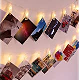 SuperDecor 30 LED Photo Clips String Lights Holder, USB Powered, 12ft Fairy Twinkle Wedding Party Halloween Christmas Decoration Lights for Hanging Photos Pictures Cards Artworks Memos, Warm White