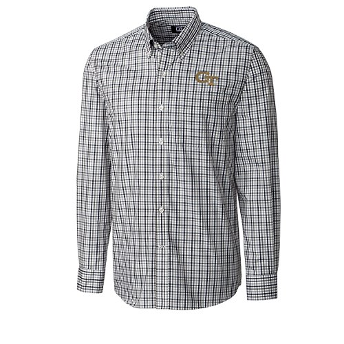 Ncaa Button Down Shirt - Cutter & Buck NCAA Georgia Tech Men's Long Sleeve Gilman Plaid Shirt, Large, Liberty Navy