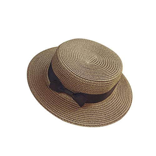 Fulijie Unisex Straw Hat, Fashion Womens Mens Glamorous Exquisite Beach Bow Flat Top Visor Straw Hat Bow Sunhat Coffee