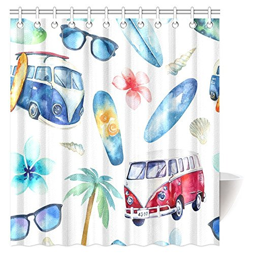 Beach Watercolor - InterestPrint Vintage Shower Curtain, Fun Holiday Activity Watercolor Beach, Adventure, Bike, Tree Bathroom Set with Hooks, 66 X 72 Inches