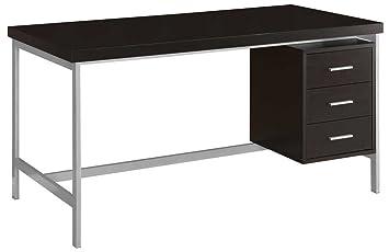 Monarch Specialties Hollow Core/Silver Metal Office Desk, 60 Inch,  Cappuccino
