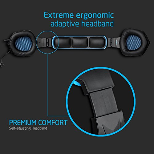 51TuVPJu%2BaL - SADES SA-807 PlayStation 4 Pro Xbox One S Stereo Headset Over-Ear Gaming Headphones with Microphone for PC PS4 iPad Mobile Tablet Mac (Black & Blue)