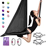 SAIVEN Aerial Silks-Aerial Yoga Hammock with Deluxe Yoga Swing Set for Yoga Trapeze, Flying Yoga, Aerial Dance