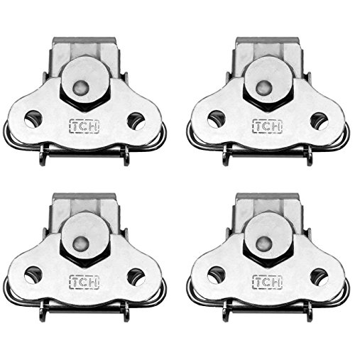 (TCH Hardware 4 Pack Steel Small Butterfly Twist Latch & Keeper Zinc - Spring Loaded Toggle Clamp Case Box Chest Closure )