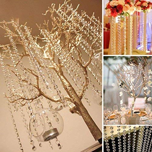 16.4Ft Acrylic Beads Chain,Crystal Rhinestone Beads Chain Pure Octagonal Hanging Beads for Wedding Party Christmas Tree Garlands Chandelier Decorations - 1 Pack (Champagne,16.4Ft Each Pack)