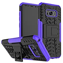 Galaxy S8 Case, S8 Case, Samsung Galaxy S8 Case, Moment Dextrad [Built-in Kickstand] Anti-Slip Shock-Absorption Hard Bumper Protective Case for Samsung Galaxy S8 [5.8''] + Capacitive Stylus (Purple)