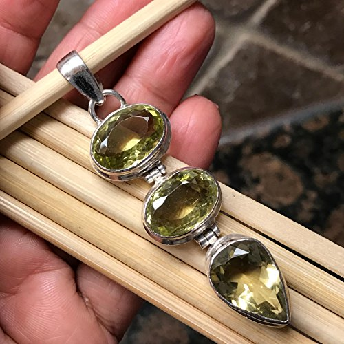 (Natural 20ct Lemon Topaz 925 Solid Sterling Silver 3- Stone Pendant 65mm Long)
