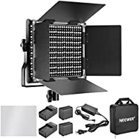 Neewer Dimmable Bi-color 660 LED Video Light with Rechargeable 6600mAh Battery and Charger Lighting Kit: 3200-5600K, CRI 96+ with U Bracket and Barndoor for Camera Photo Studio YouTube Video Shooting