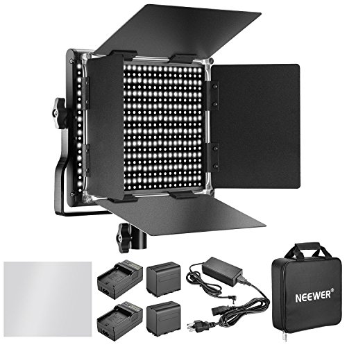 Neewer Dimmable Bi-color 660 LED Video Light with Rechargeable 6600mAh Battery and Charger Lighting Kit: 3200-5600K, CRI 96+ with U Bracket and Barndoor for Camera Photo Studio YouTube Video Shooting by Neewer