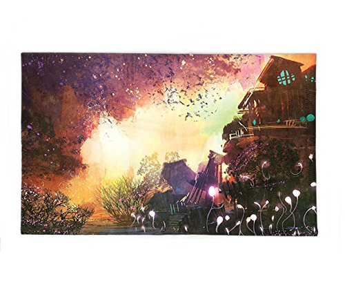 Interestlee Fleece Throw Blanket Fantasy Art House Decor Abandoned Medieval Castle with Old Tower Ghosts Halloween Spooky Mauve Yellow (Halloween Coloring Sheets By Number)