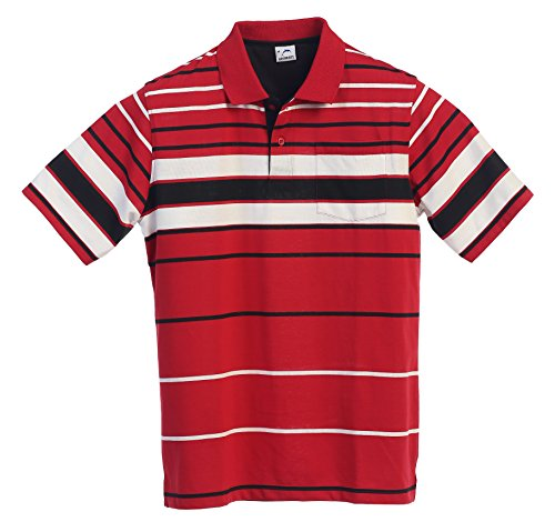 Gioberti Mens Slim Fit Striped Polo Shirt with Pocket, Red, Large