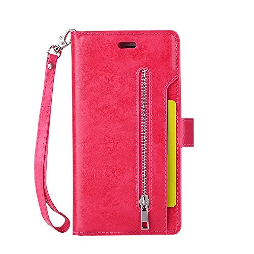 iPhone 6S Plus Wallet Case,(5.5) Haibao Leather Wristlet [Zipper Cash Storage] [9 Card Slots Including 1 ID Window/Photo Frame] Premium PU Leather Purse TPU Case (Rose - Diamond Touch Htc Leather