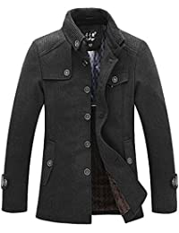 Men's Stand Collar Wool Blend Single Breasted Pea Coat With Fleece Lined