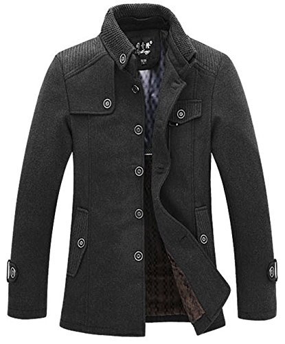 chouyatou Men's Stand Collar Wool Blend Single Breasted Pea Coat with Fleece Lined (Small, Dark Gray) -