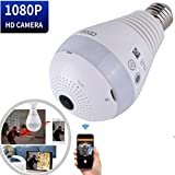 Hidden Wireless Wifi Panoramic LED Cameras 360 Security Camera White Lights Bulb Fisheye Lens Indoor Home Surveillance System with Remote View Motion Detection for Android IOS APP