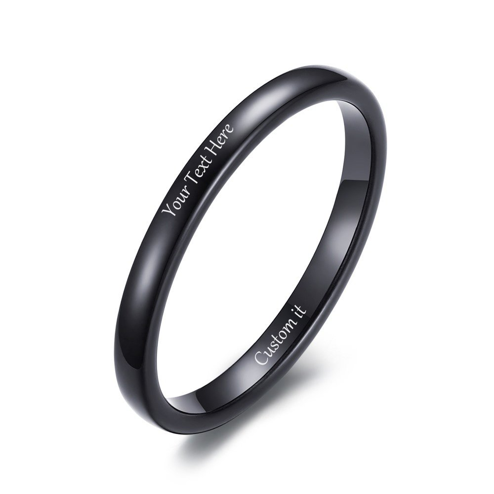 VNOX Free Custom Engraving-2mm Women's Tungsten Carbide Plain Thin Band Wedding Ring,Black,Size 11