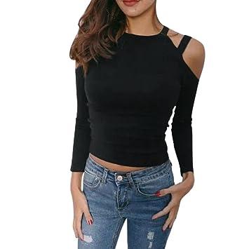 Camisetas Slim Fit Mujer, LILICAT® Blusa Tops Talla grande Hombro al Aire con cuello